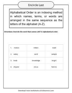 Alphabetical Order Worksheets, Examples & Definition   KidsKonnect