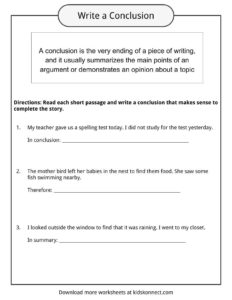 Conclusion Worksheets Examples Definition  Meaning For Kids Conclusion Worksheets