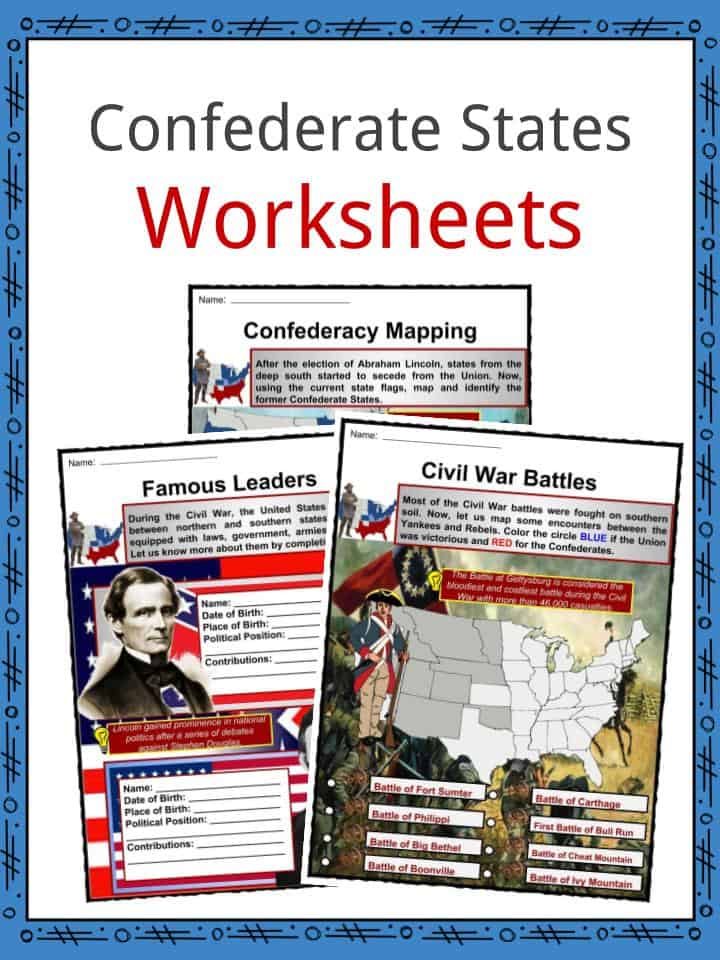 Confederate States Worksheets