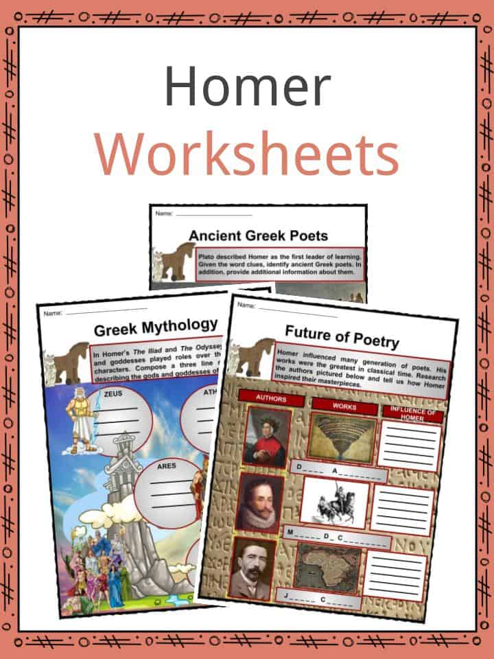 The Greek Poet Homer Facts Worksheets Life Work