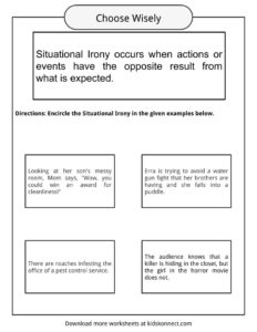 situational irony worksheets examples definition for kids. Black Bedroom Furniture Sets. Home Design Ideas