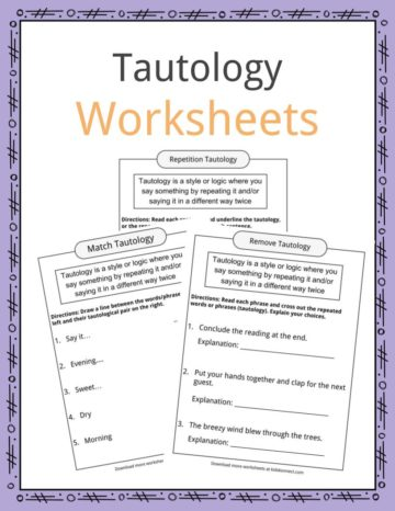 Tautology Worksheets