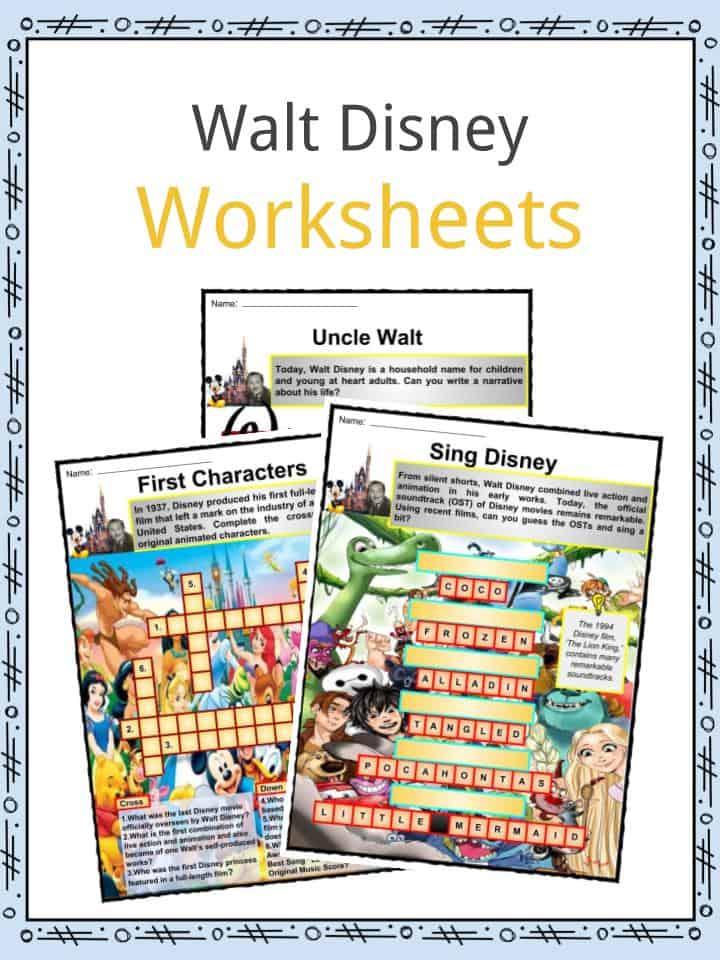 Walt Disney Facts, Worksheets, Biography, Life & Death For Kids