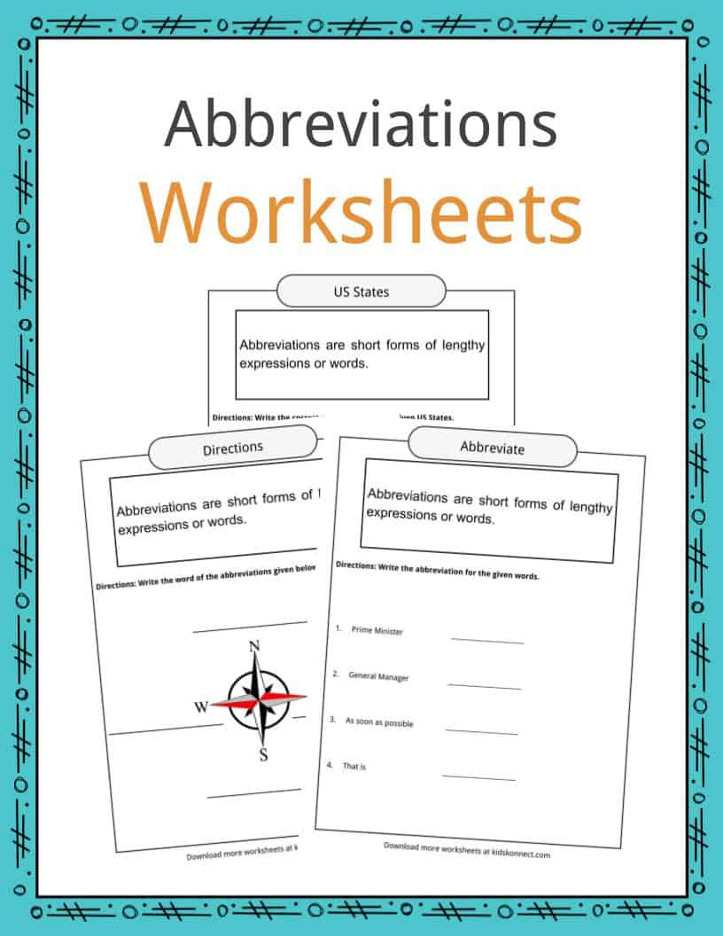 Abbreviations Worksheets