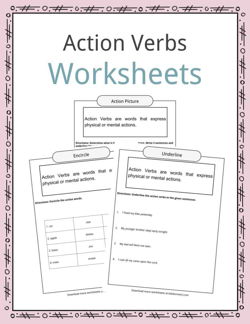 Action Verbs Worksheets, Examples, Sentences & Definition For Kids