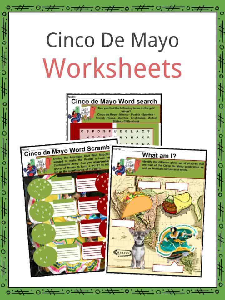 picture regarding Cinco De Mayo Printable Decorations named Cinco de Mayo Details, Worksheets Historical Celebrations For Little ones