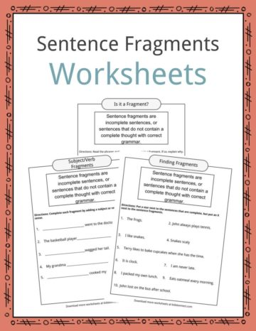 Sentence Fragments Worksheets