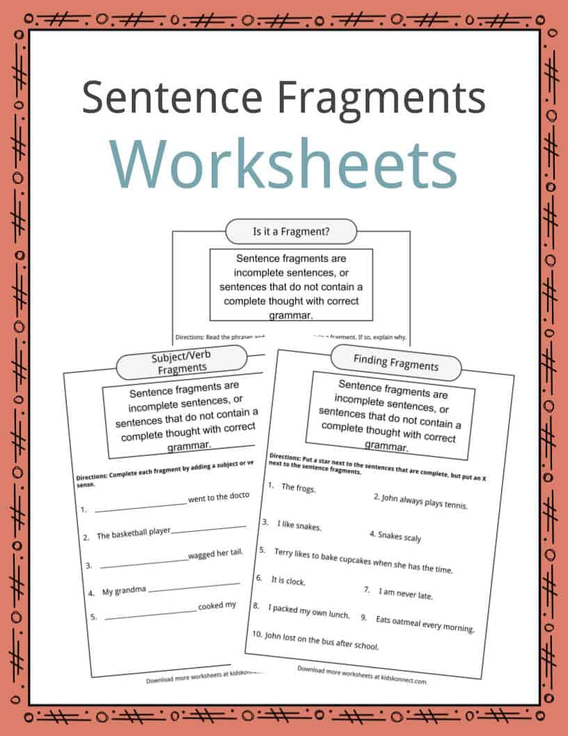 Sentences And Fragments Worksheet