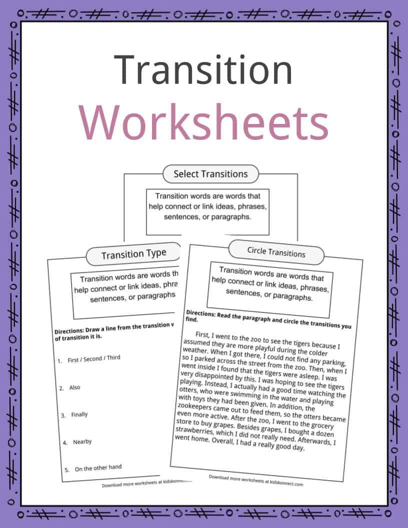 transition words worksheets  examples  u0026 definition for kids
