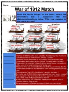 War of 1812 Facts & Worksheets