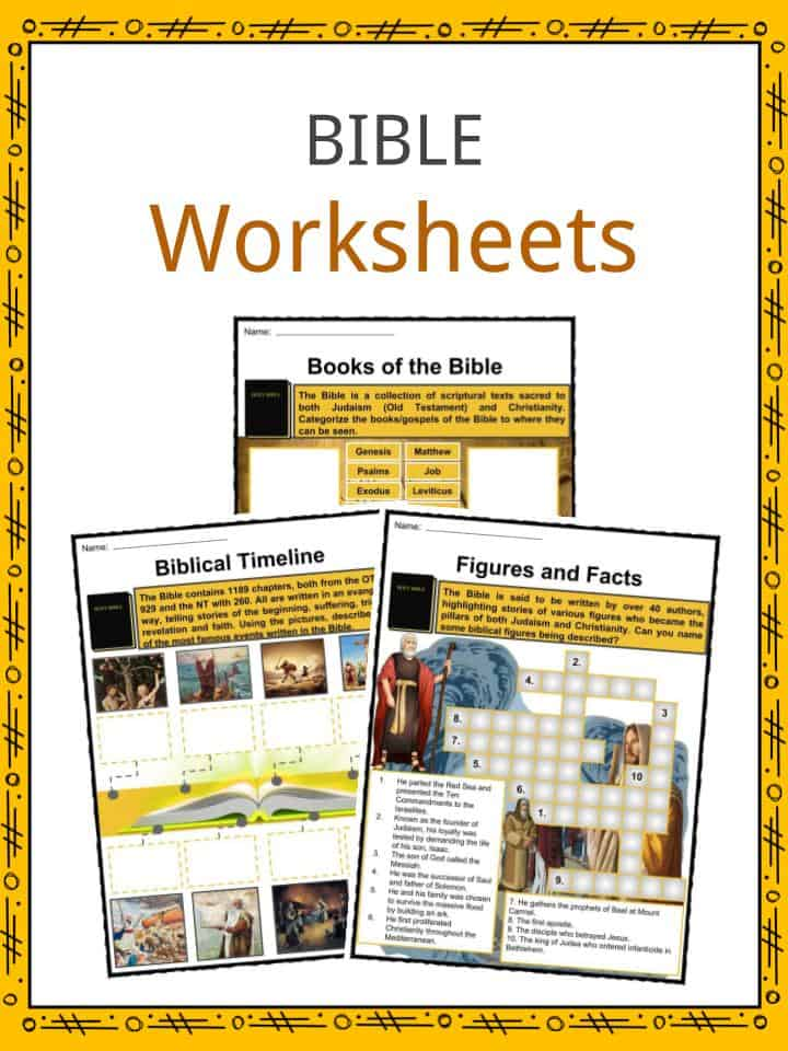 The Bible Facts, Worksheets, Old & New Testament Information For Kids