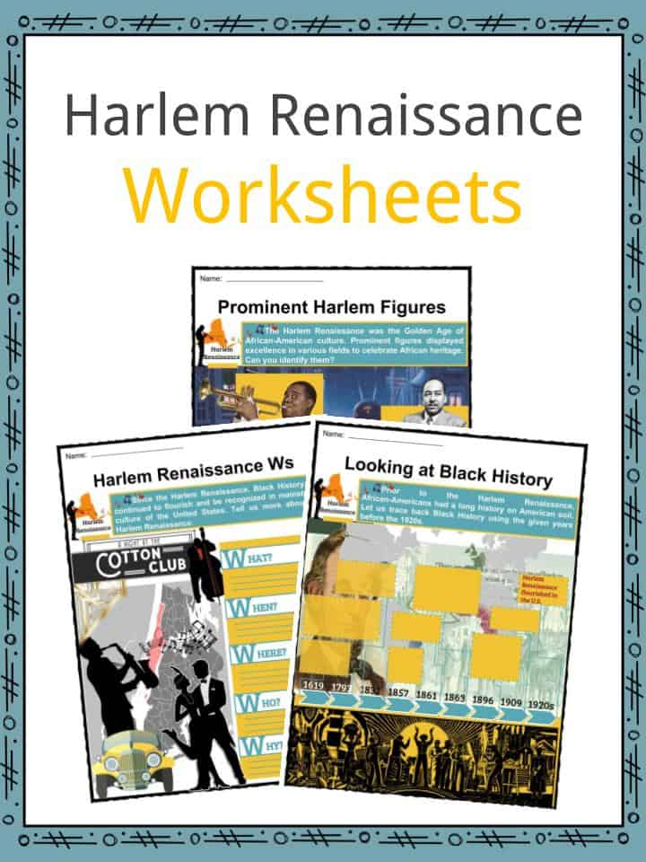 Harlem Renaissance Facts Worksheets Movement Music