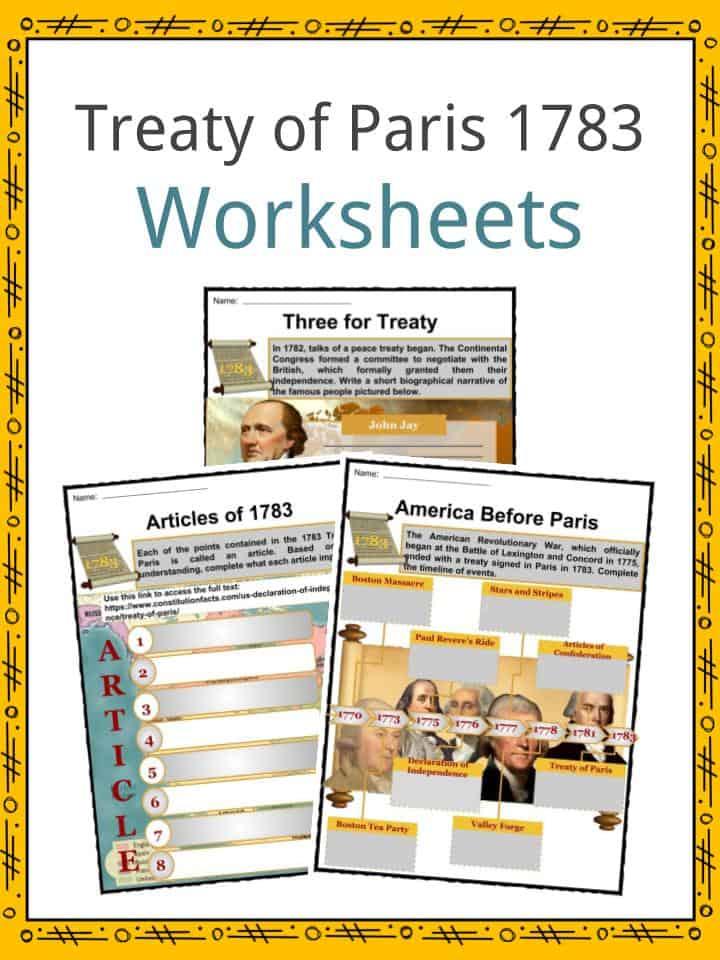 Treaty of Paris 1783 Worksheets