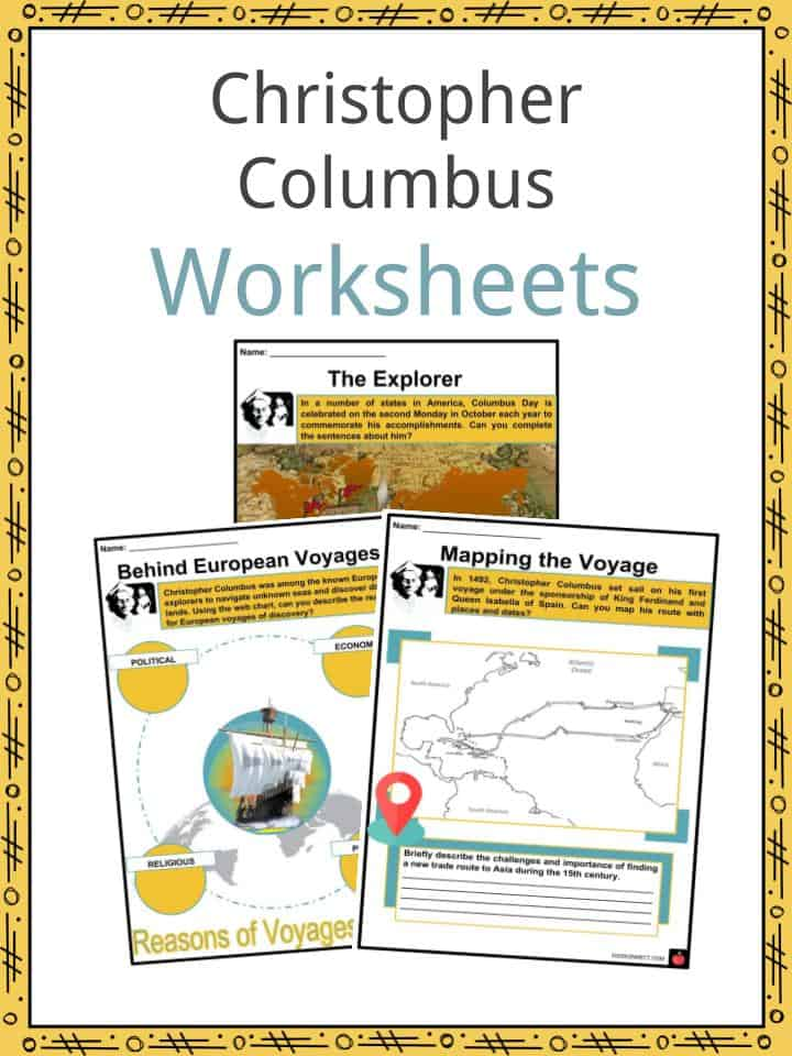 Christopher Columbus Worksheets, Facts & Information For Kids on