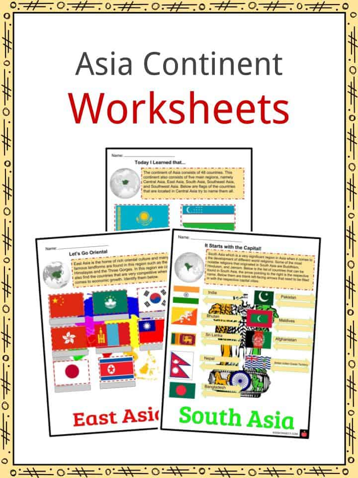 Asia Continent Worksheets