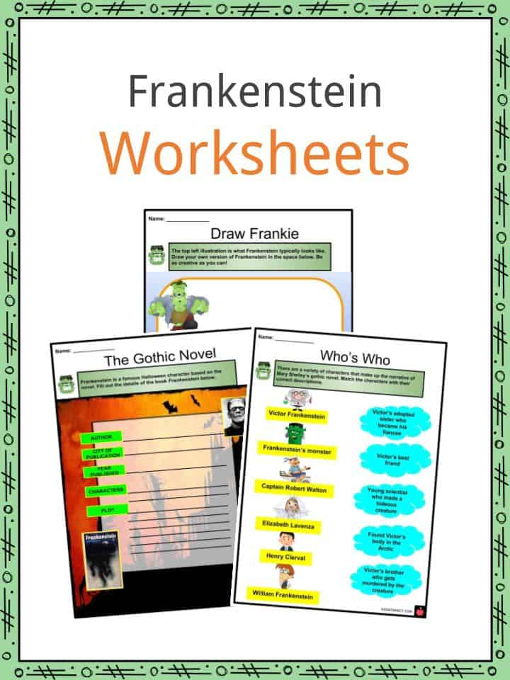 Frankenstein Facts Worksheets Book Summary Characters For Kids