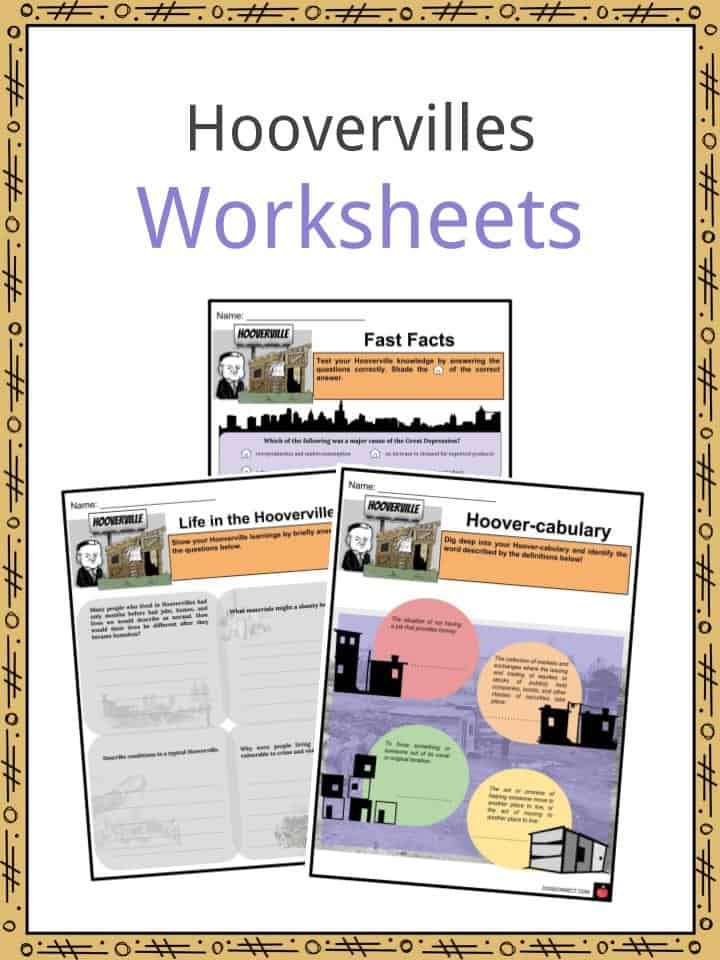 graphic about Free Printable Worksheets on the Great Depression named Hoovervilles Info, Worksheets, Lifetime, Illnesses, Background