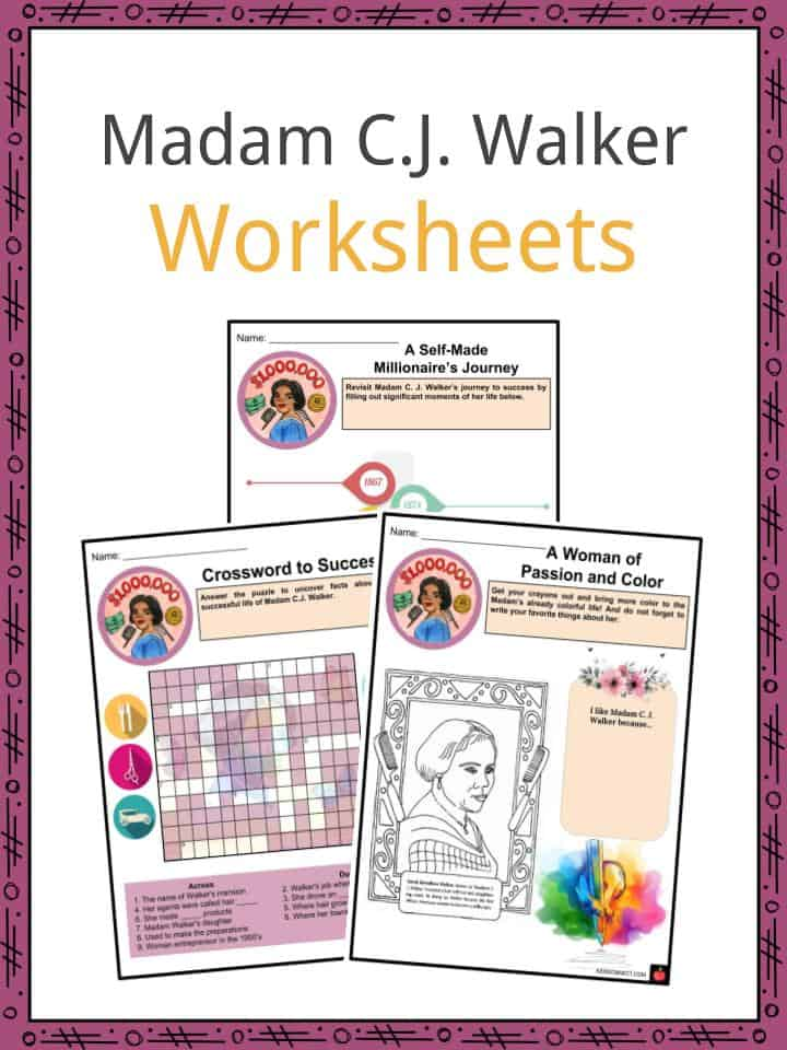 Madam C J  Walker Facts, Worksheets, Life, Achievements For Kids