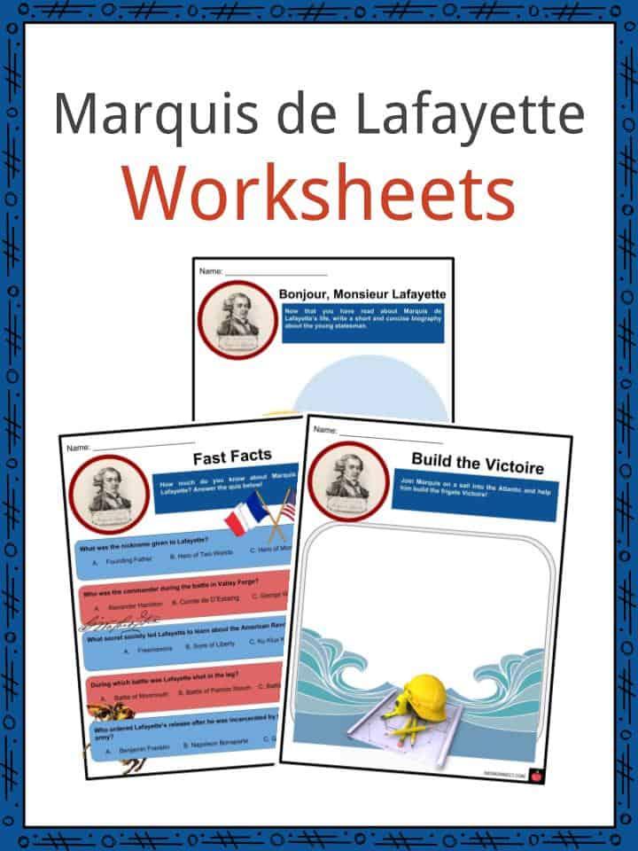 Marquis de Lafayette Worksheets
