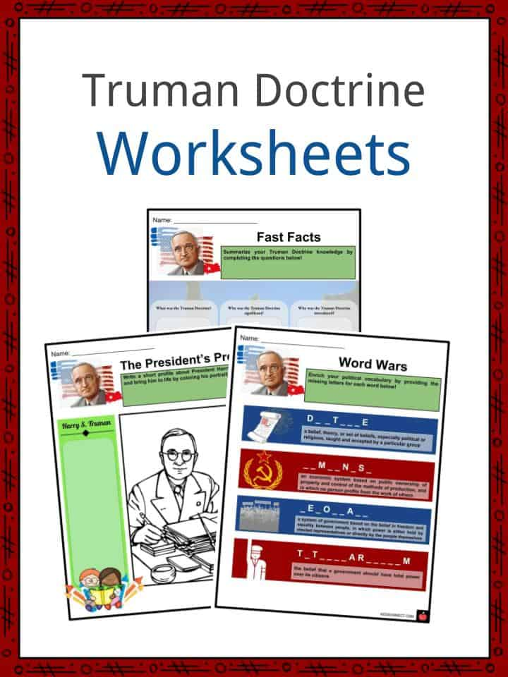 truman doctrine facts worksheets policy declaration impact for kids