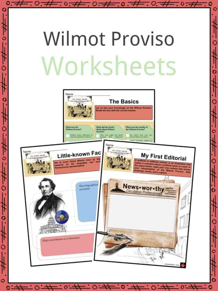 Wilmot Proviso Worksheets