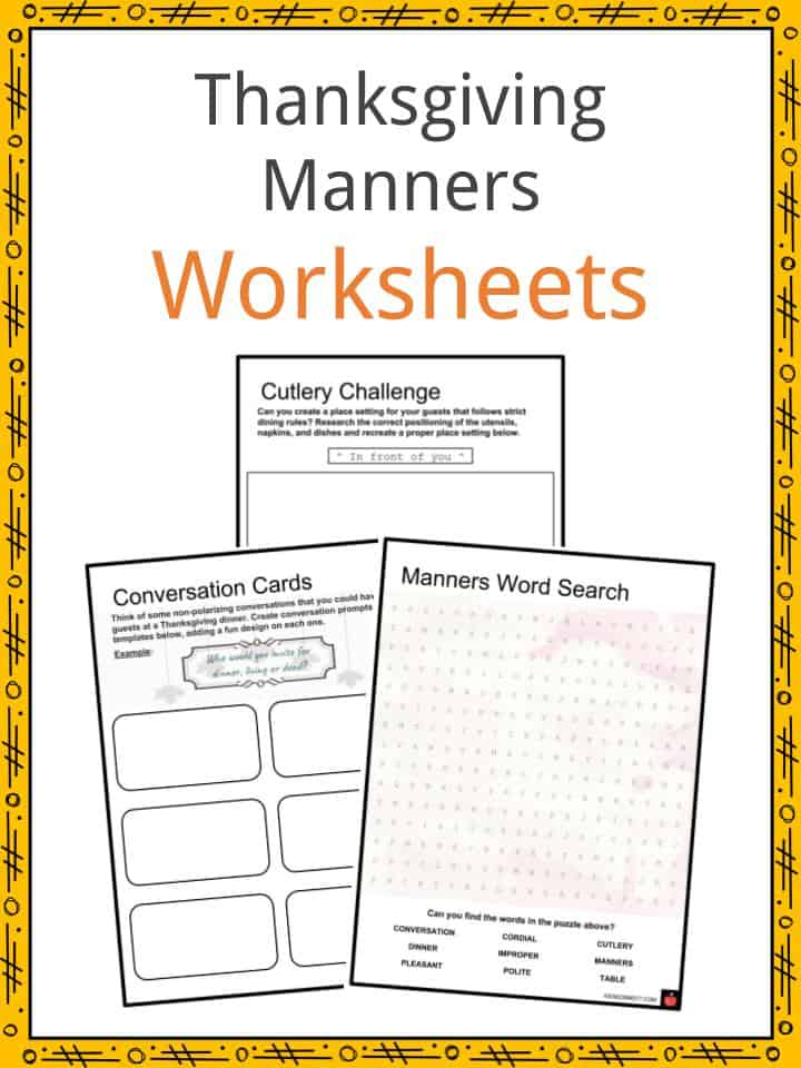 Thanksgiving Manners Worksheets