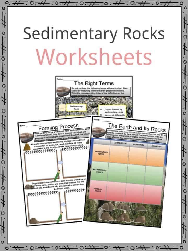 Sedimentary Rocks Facts Worksheets Layers Study