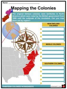 13 (Thirteen Original) Colonies Facts, Information & Worksheets for Kids