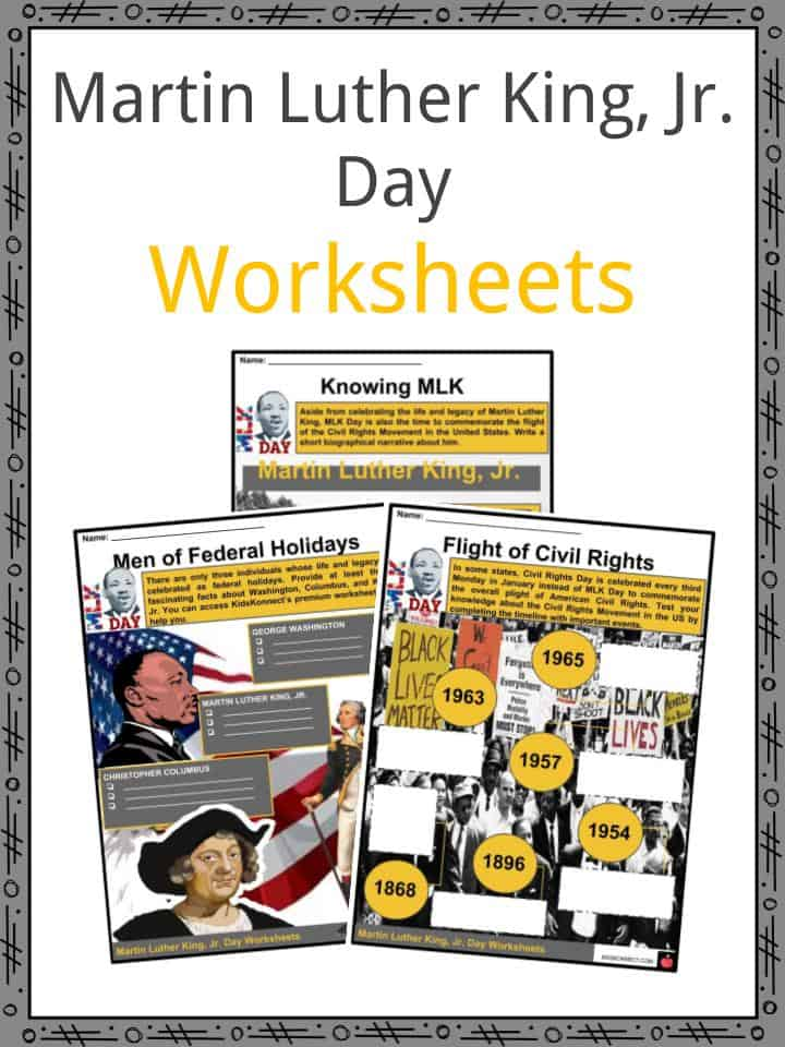 Martin Luther King Jr Day Facts Worksheets History Observance Kids