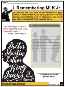 Martin Luther King Jr Facts Worksheets Activism History Death Kids