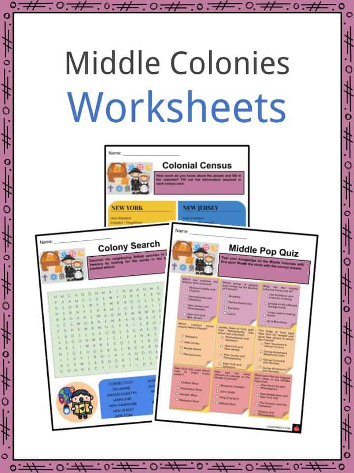 Middle Colonies Facts Worksheets Background Economy For Kids