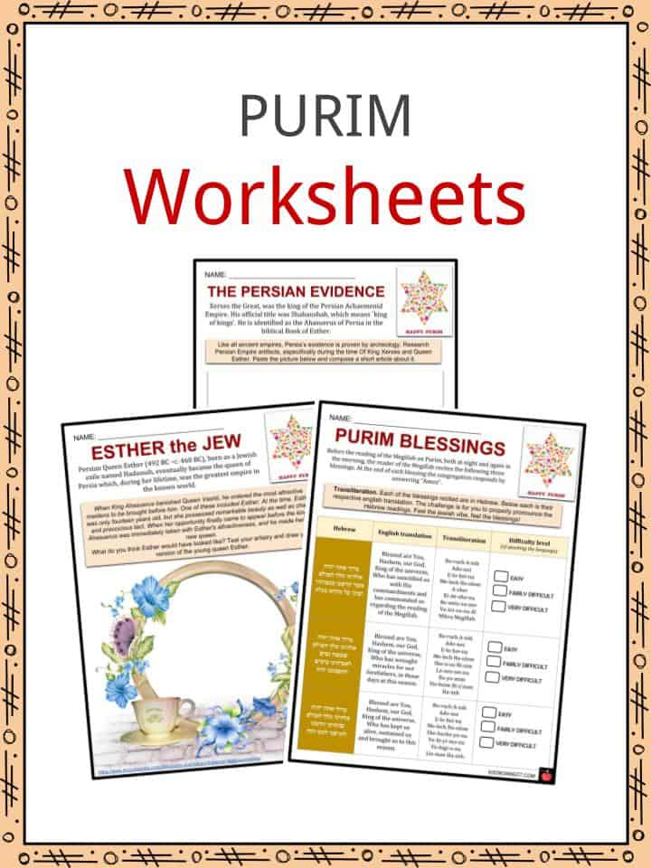Purim Facts, Worksheets, Timeline, Observance & Customs For Kids