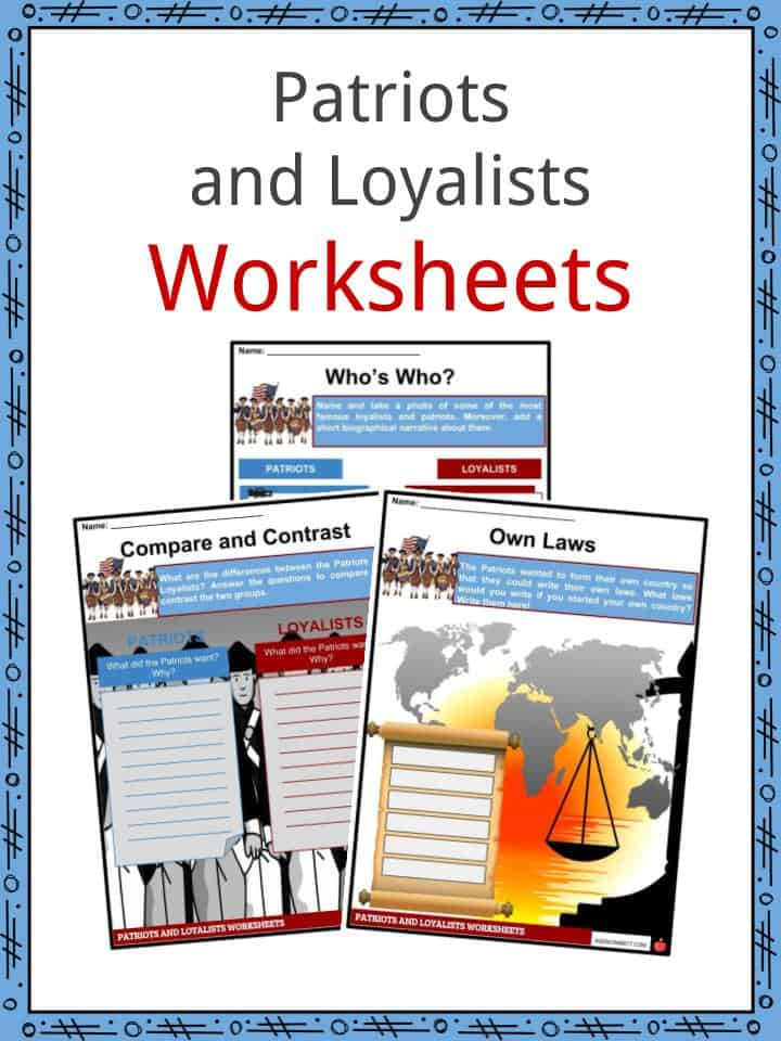 picture about American Revolution Printable Worksheets named Patriots vs Loyalists Worksheets, Info and Definition For Young children