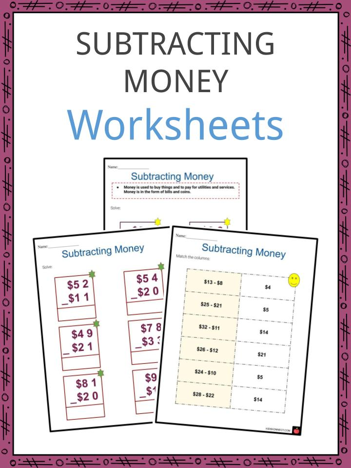 Subtracting Money Worksheets Examples Subtracting Money