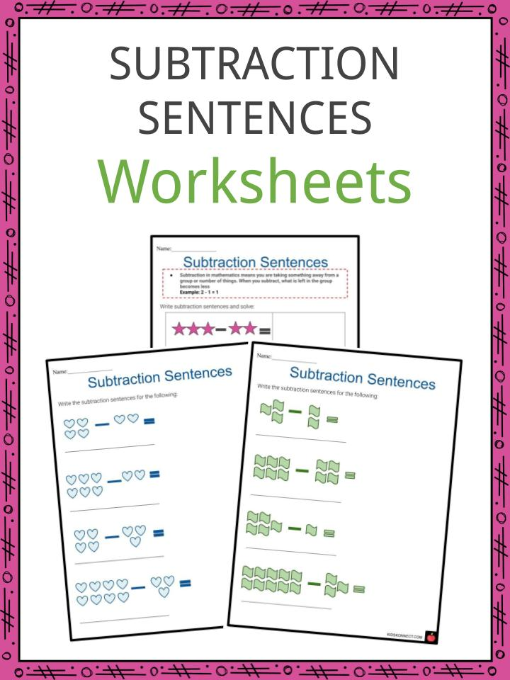 Subtraction Sentences Worksheets | Addition & Subtraction ...