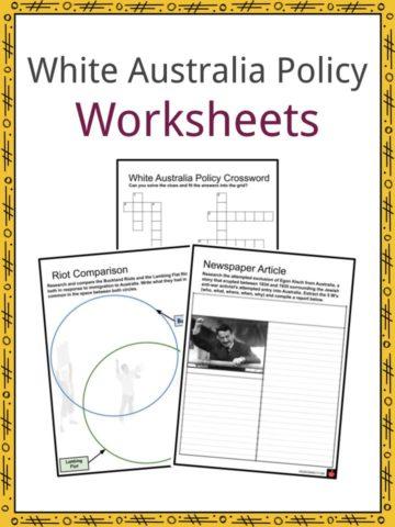 White Australia Policy Worksheets