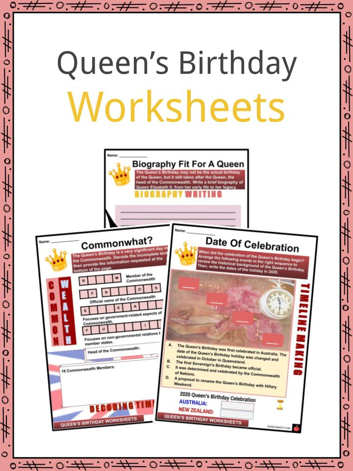 queen s birthday facts worksheets background for kids. Black Bedroom Furniture Sets. Home Design Ideas