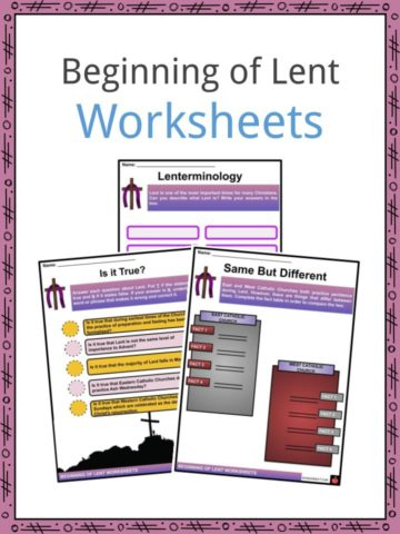 Beginning of Lent Worksheets