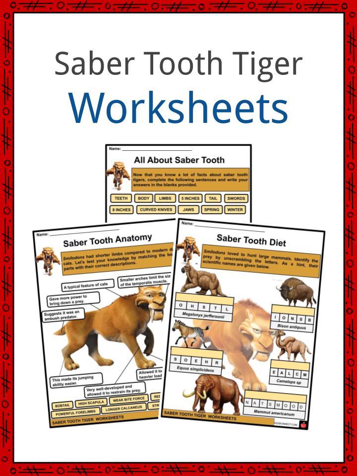 Saber Tooth Tiger Worksheets