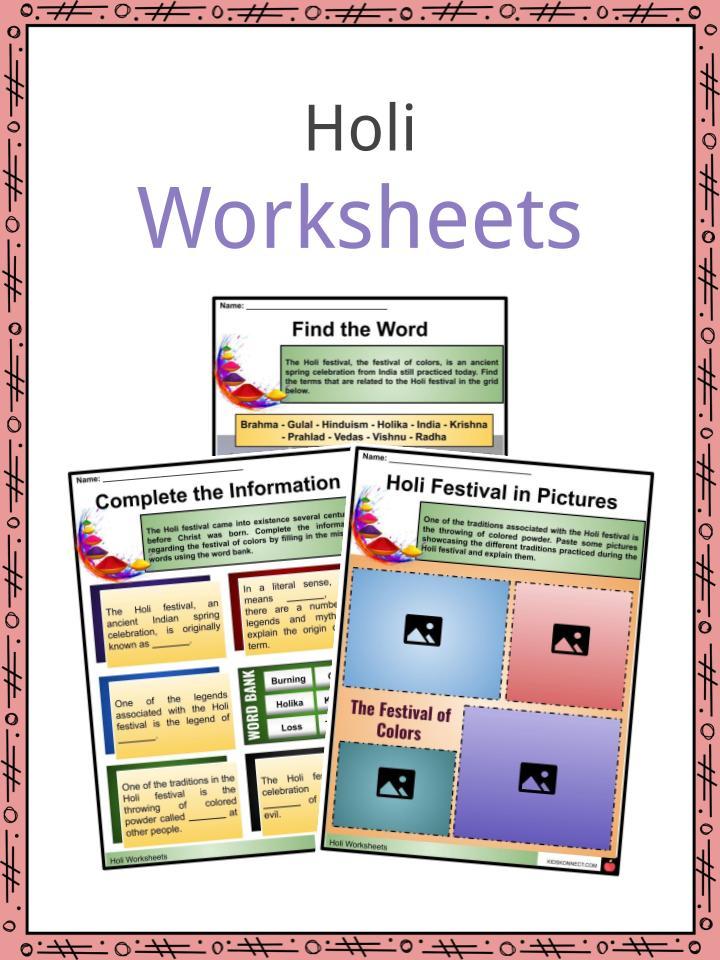 Holi Worksheets