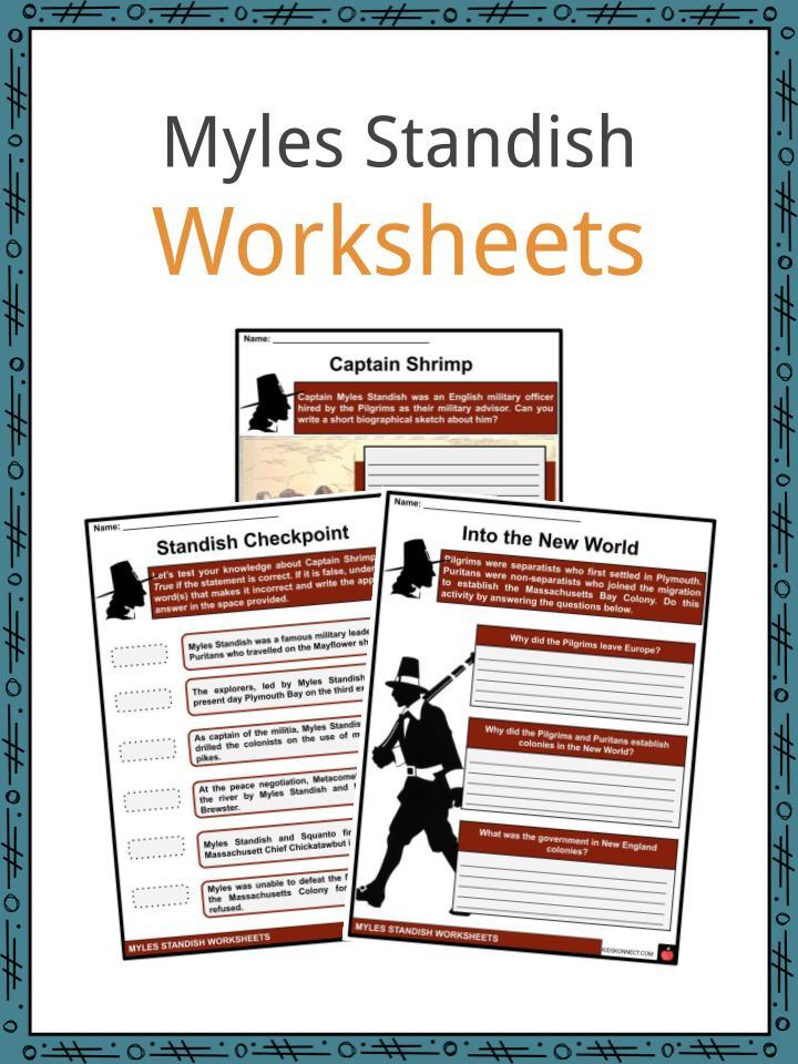 Myles Standish Worksheets