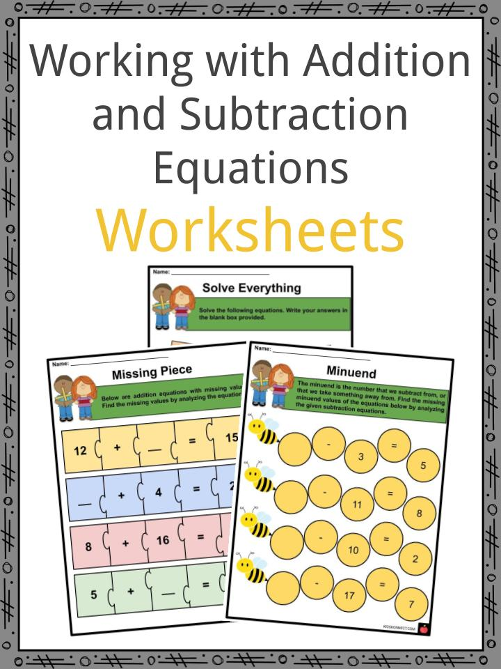 Working with Addition and Subtraction Equations Worksheets