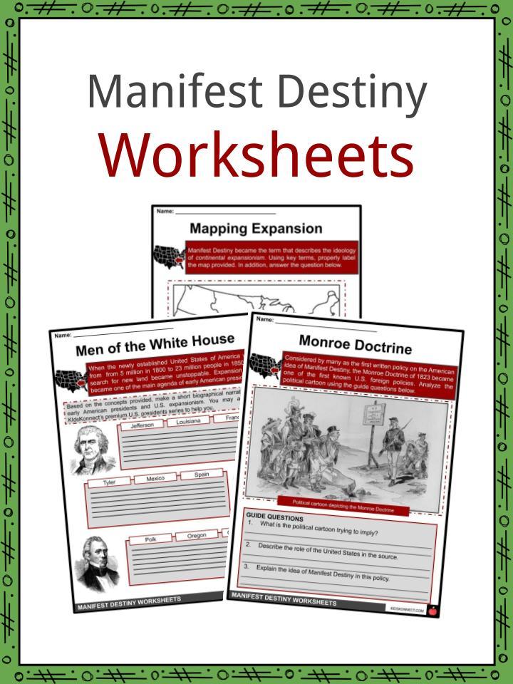 Manifest Destiny Facts Worksheets Origins For Kids