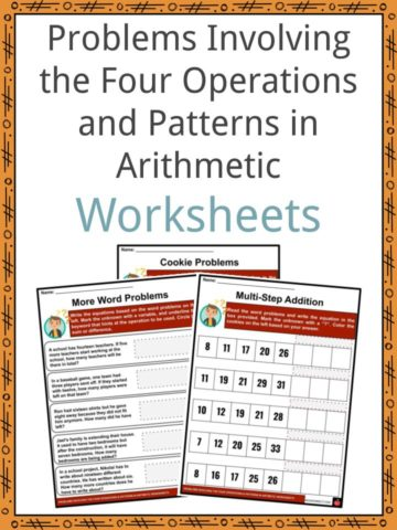 Problems Involving the Four Operations and Patterns in Arithmetic Worksheets