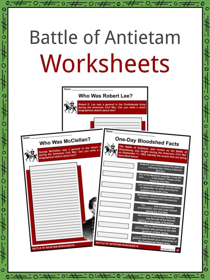 Battle of Antietam Worksheets