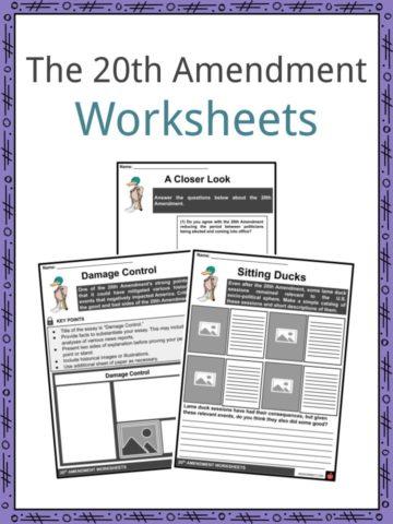 20th Amendment Worksheets