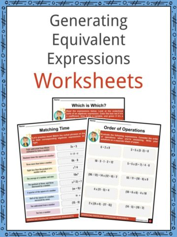 Generating Equivalent Expressions Worksheets