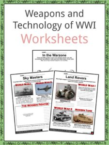 Weapons and Technology of WWI Worksheets