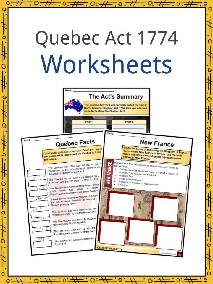 Quebec Act 1774 Worksheets