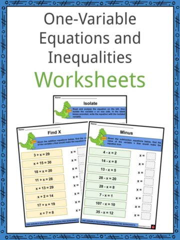 One-variable Equations and Inequalities Worksheets